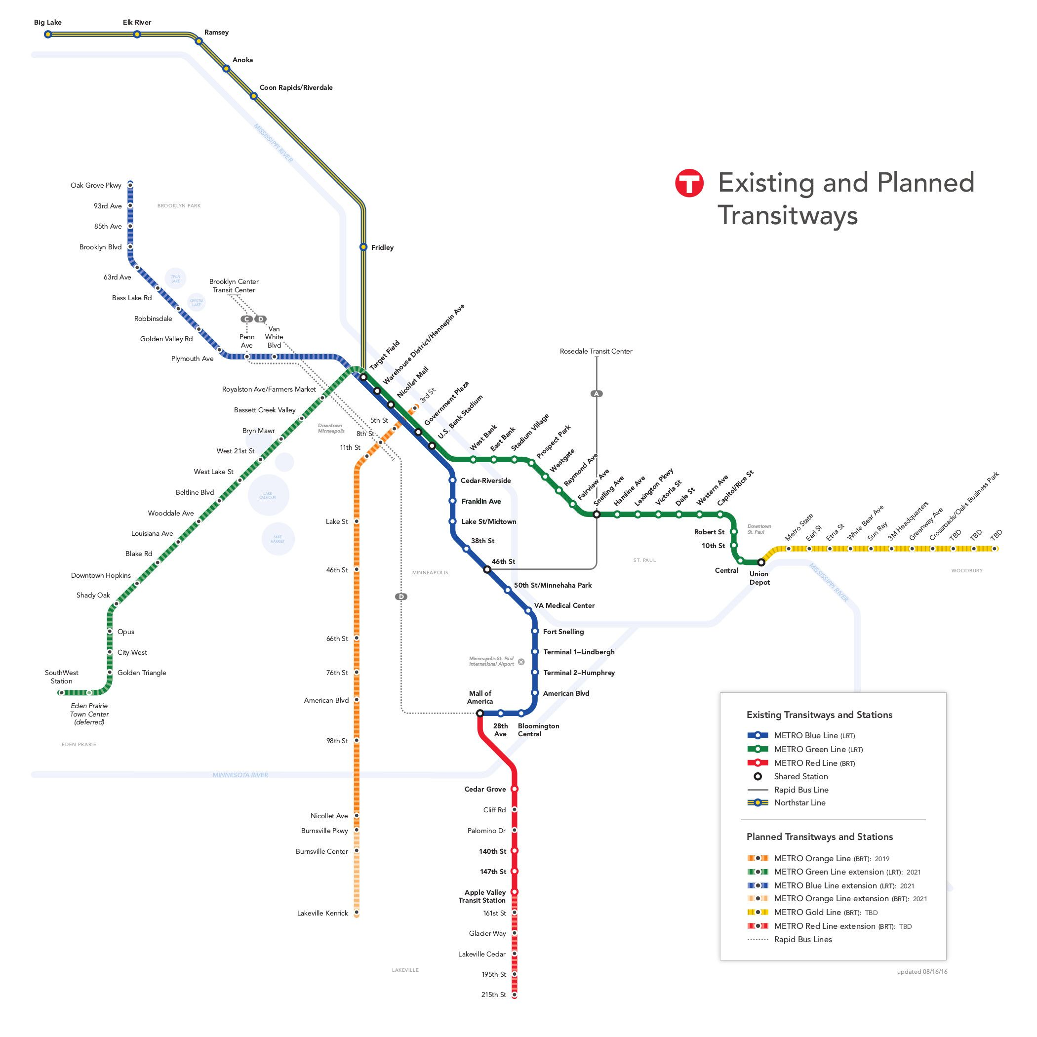 METRO is a rapid transit system serving the Minneapolis St Paul