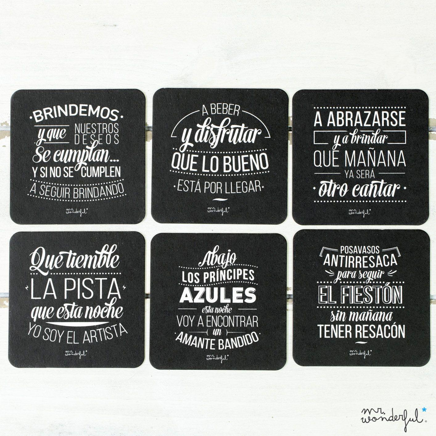 Posavasos De Cartón Set De 6 Ud En 2019 Frases De