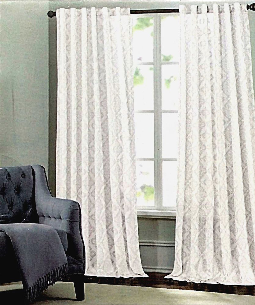 Tahari Metallic Silver Damask Medallions Window Panels Drapes Set ...