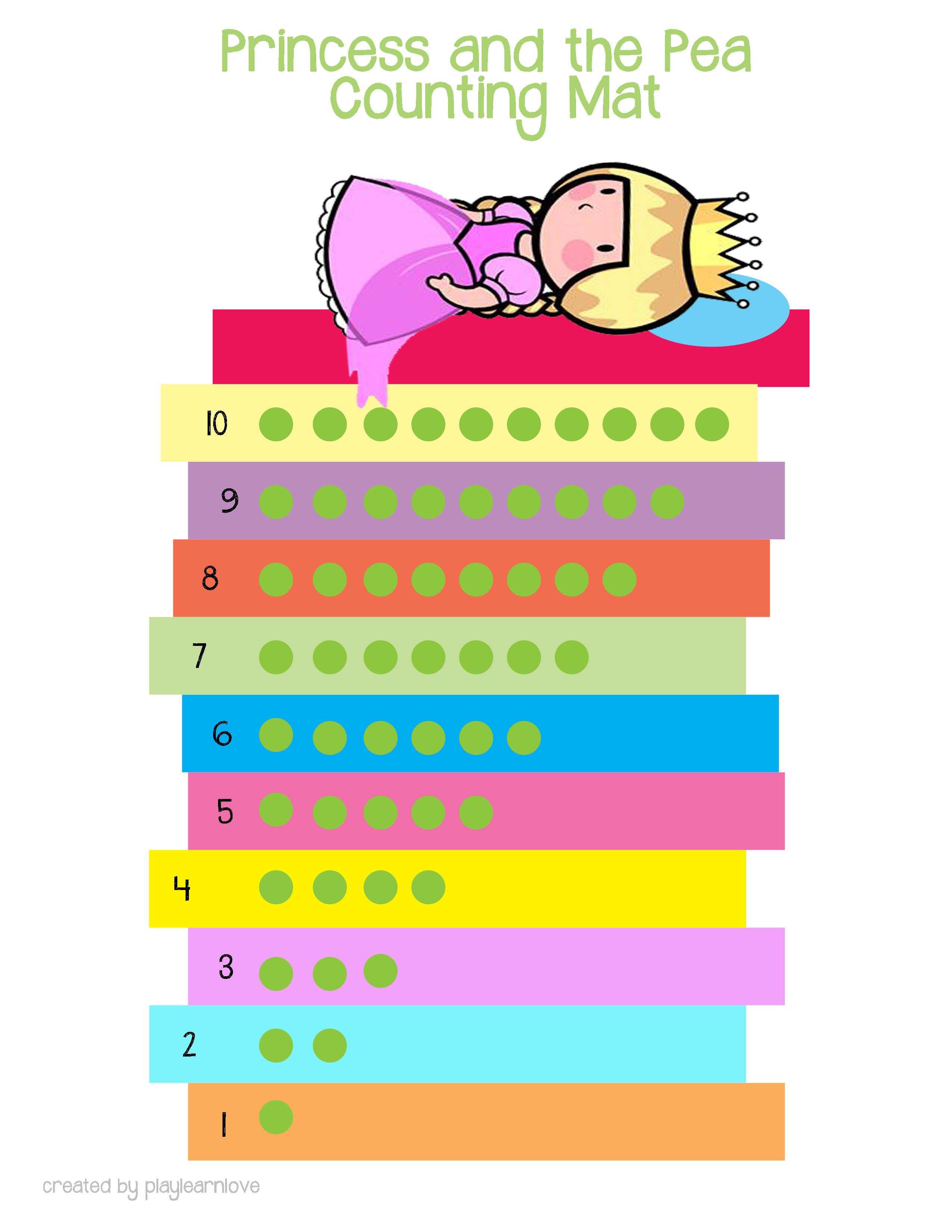 Princess And The Pea Counting Mat Printable Math Activity