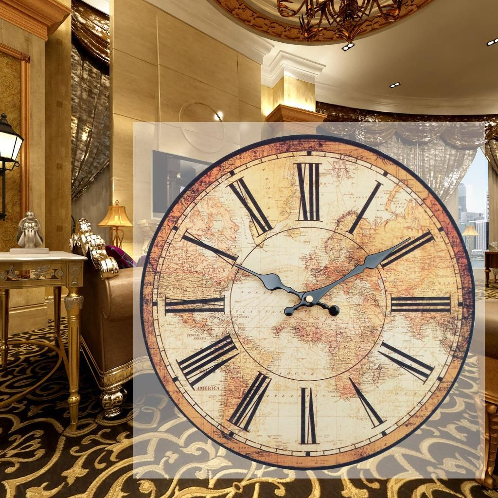 Vintage style wall clock kitchen home world map globe rustic vintage style wall clock kitchen home world map globe rustic clocks bedroom 34cm gumiabroncs Gallery
