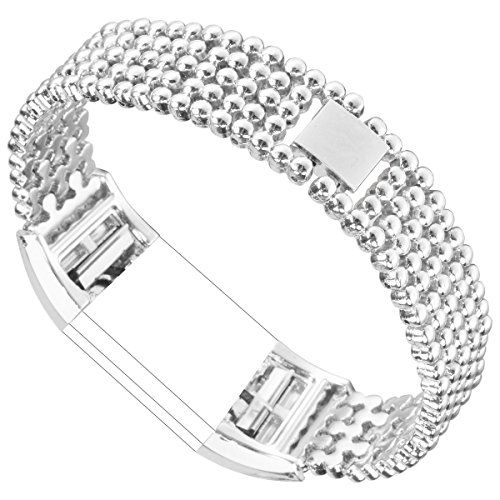 ABOOM Bead Style Stainless Steel Watch Band for Fitbit
