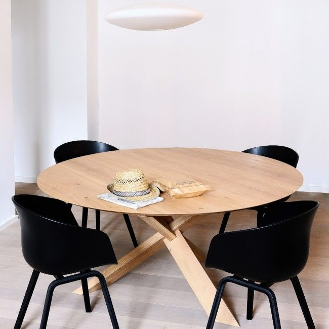 Dining Ethnicraft Oak Circle Dining Table From Clickon Furniture