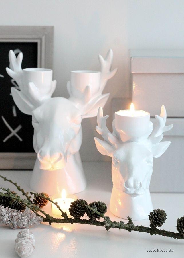 hirschkopf teelichthalter weiss klein dekoration teelicht deko für die wand aus metall wanddeko groß