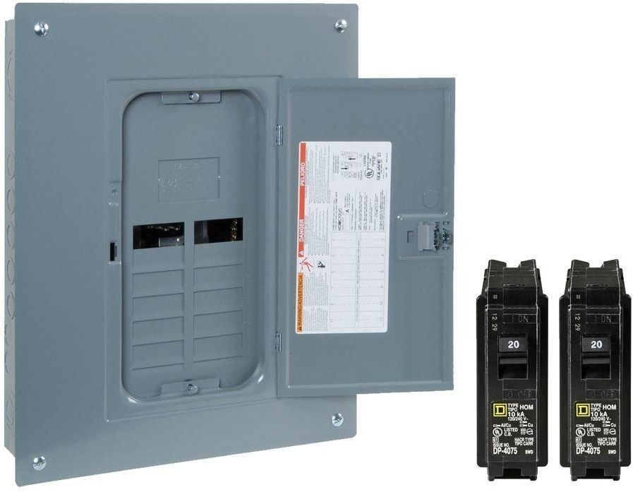 Square D Homeline 125 Amp 12-Space 24-Circuit Indoor Main Load Center Panel Box #SquareD