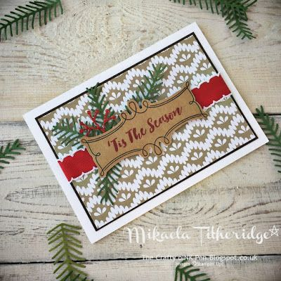 Mikaela Titheridge, The Crafty oINK Pen: Christmas Pines for Elegant embellishment. Stamp-a-Stack card. Supplies and events available through my online store.