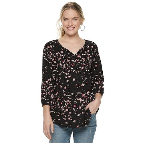 e34fe04f1381f9 Women s SONOMA Goods for Life™ Printed Pintuck Peasant Top