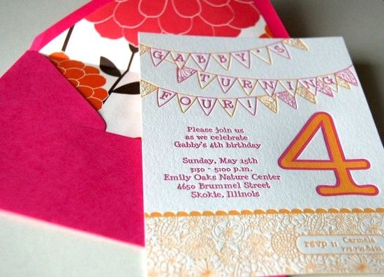 Birthday Party Invitations For A Very Sweet 4 Year Old Little Girl Letterpress Kidsbirthday
