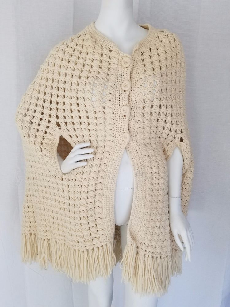 f729cc5a8b HANDMADE Vintage Crocheted Ivory Shawl Cape Button Front w  Arm Holes Wool  S M  Handmade