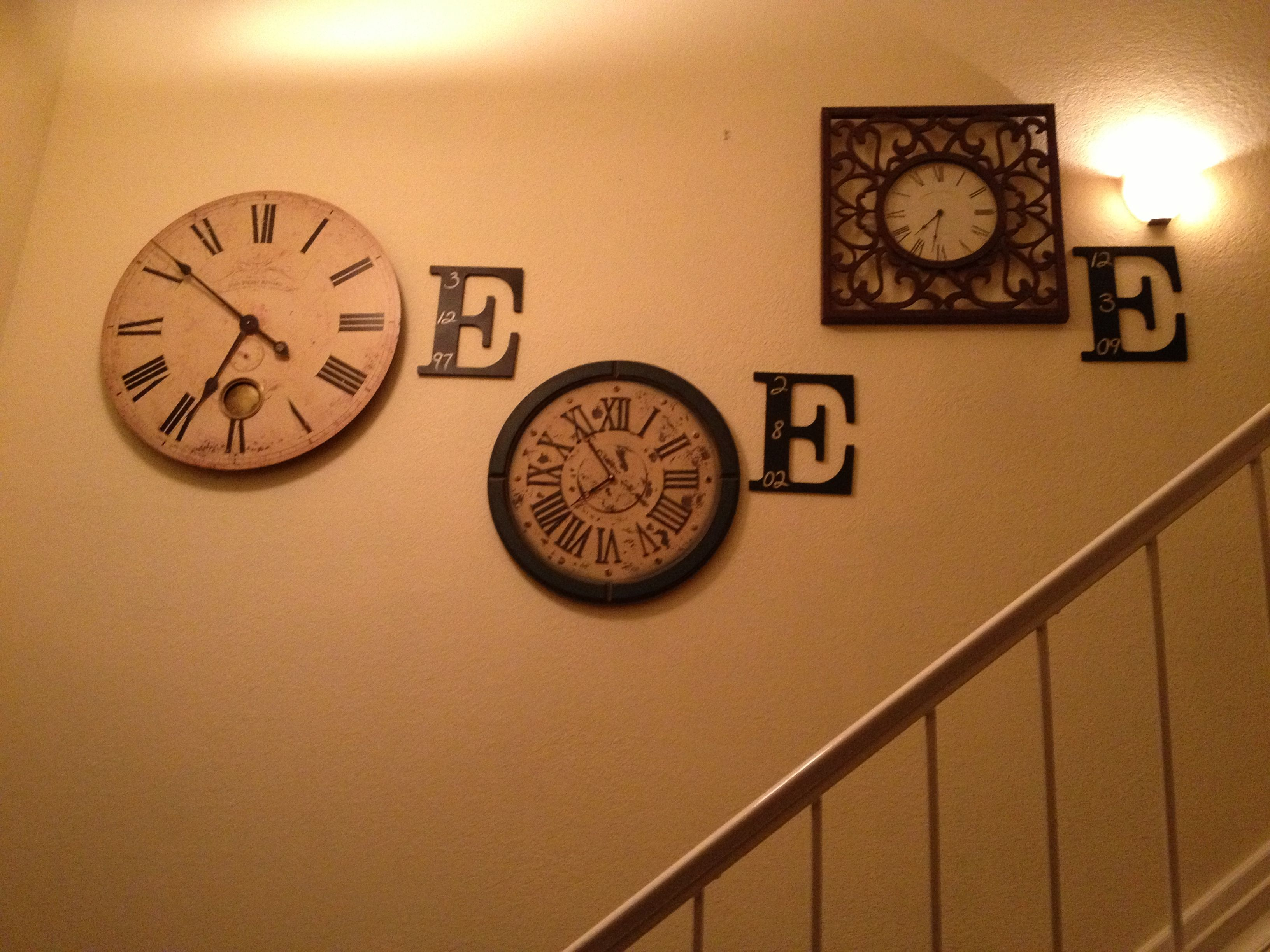 Birthday clocks for each child. Stair art.