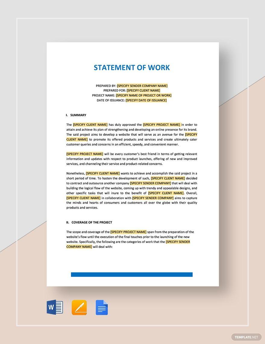 Statement Of Work Template Free Pdf Word Doc Apple Mac Pages Google Docs Internal Memo Memo Template Statement Template Free statement of work template