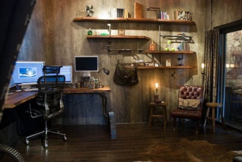 28 crazy steampunk home office designs digsdigs hermit for Steampunk living room ideas