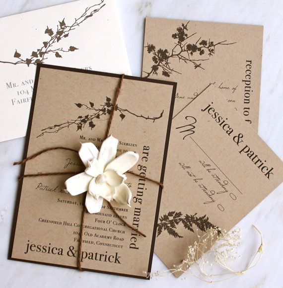 Recycled Paper Wedding Invitations: Burlap Wedding Invitations, Rustic Boxed Wedding