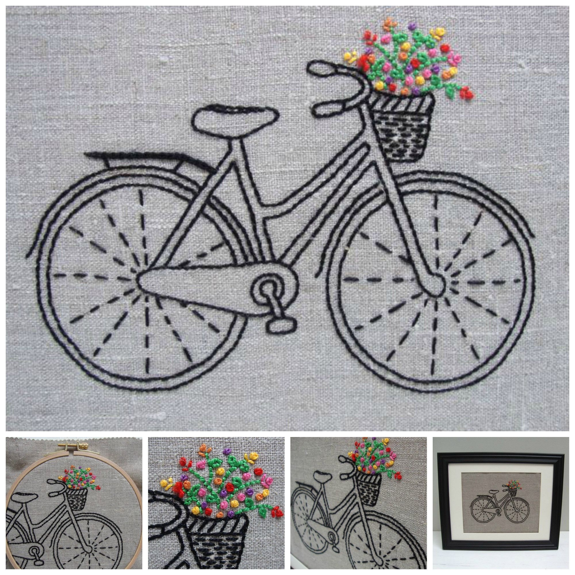 Easy DIY embroidery hoop art kit! Stitch your way to bliss with this bicycle embroidery kit. A fresh design combined with quality materials and easy-to-follow instructions make this a delightful exper