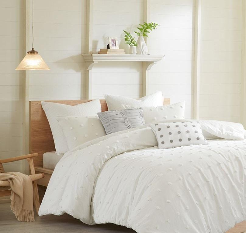 Cottage Pom Tufted Off White Comforter Set Comforter Sets White Comforter Urban Habitat