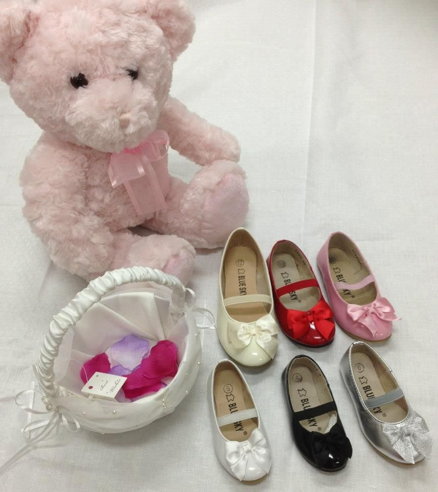 Cute Flower Girl Shoes Cream Red Pink White Black Silver All