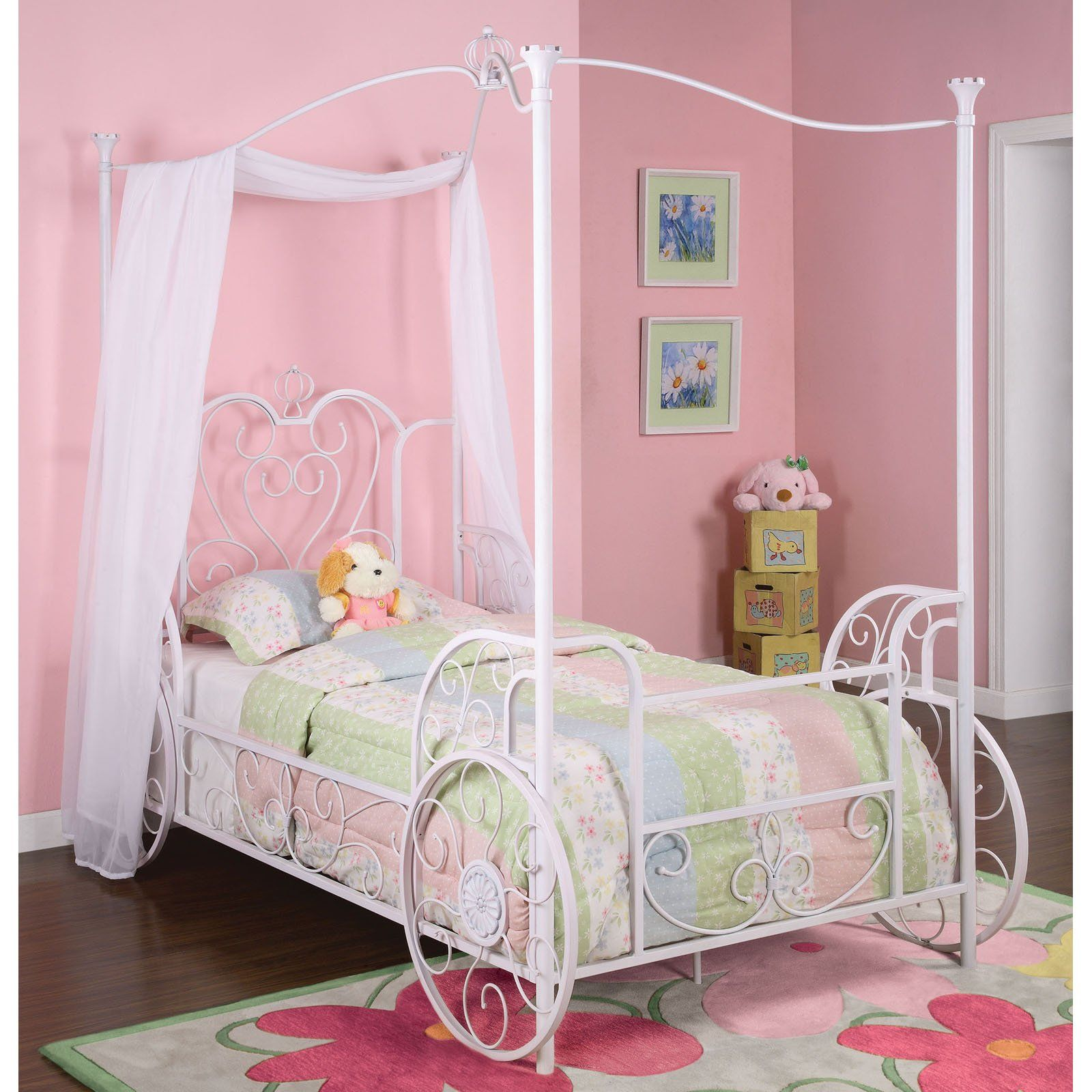 Fit for a princess the Powell Furniture - Princess Emily  Shabby Chic White  Carriage Canopy Twin Size Bed is finished in a  Shabby Chic White  with pink ... : girls princess canopy bed - memphite.com