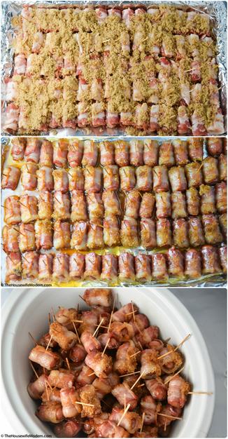 Bacon Wrapped Little Smokies with Brown Sugar (aka: Crack Weenies)