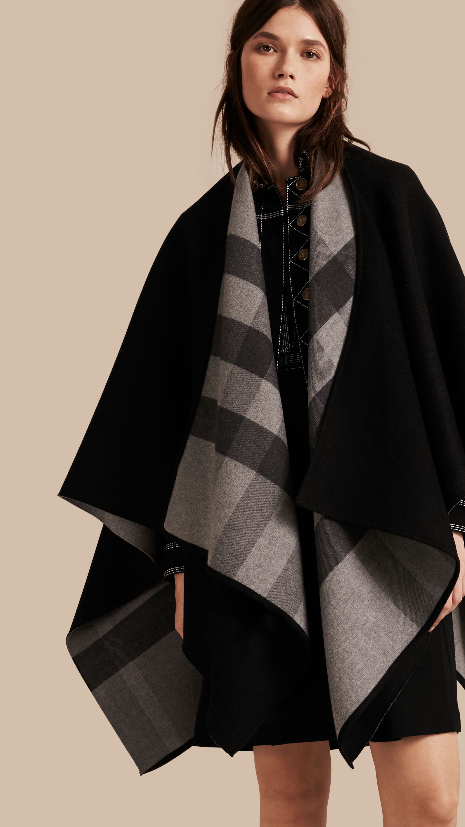 Reversible Check Merino Wool Poncho Charcoal | Burberry Canada