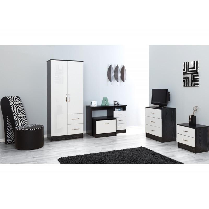Pure white gloss ash black 5 piece bedroom furniture set Furniture