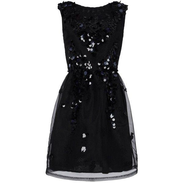 BLUGIRL BLUMARINE Short dress ($282) ❤ liked on Polyvore featuring dresses, vestidos, short dresses, robes, sequin dress, short sleeveless dress, no sleeve dress, short sequin dress e zipper mini dress