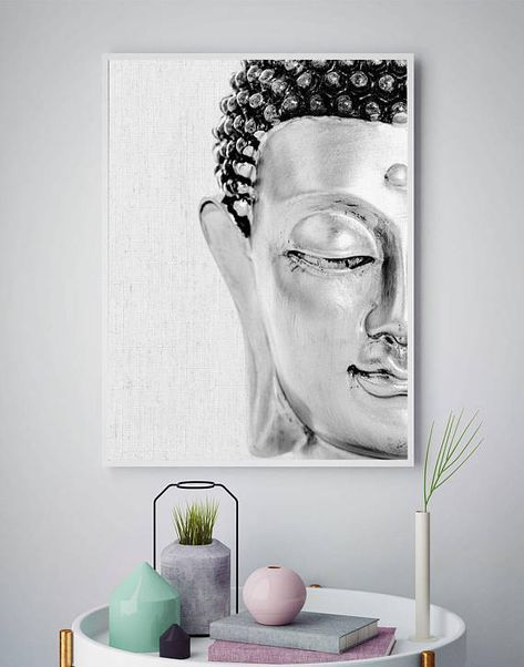 Buddha Wall Art, Buddha Painting, Buddhism Print, Buddha Decor, Buddha Gifts, Spiritual Art, Black And White Poster, Home Decor, Printable #buddhadecor
