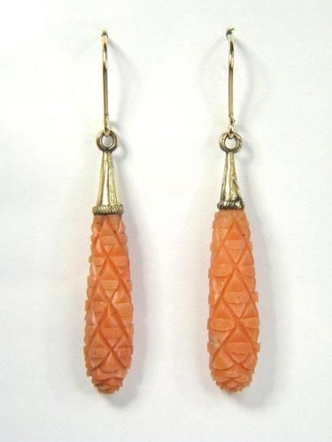 ANTIQUE ENGLISH GEORGIAN GOLD CARVED CORAL DROP EARRINGS  c1820