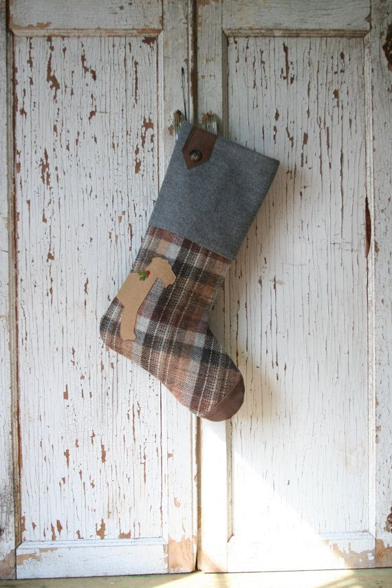 Airdale Terrier Dog, Wool Plaid CHRISTMAS STOCKING - Silhouette, Suede Toe