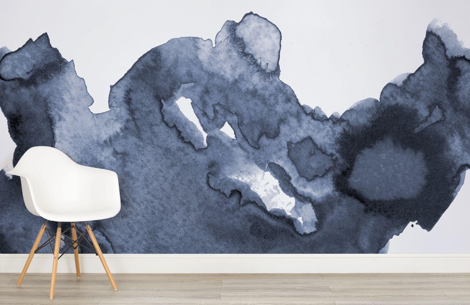 Decoration Murale Vagues Aquarelle Bleu Profond Murs A L