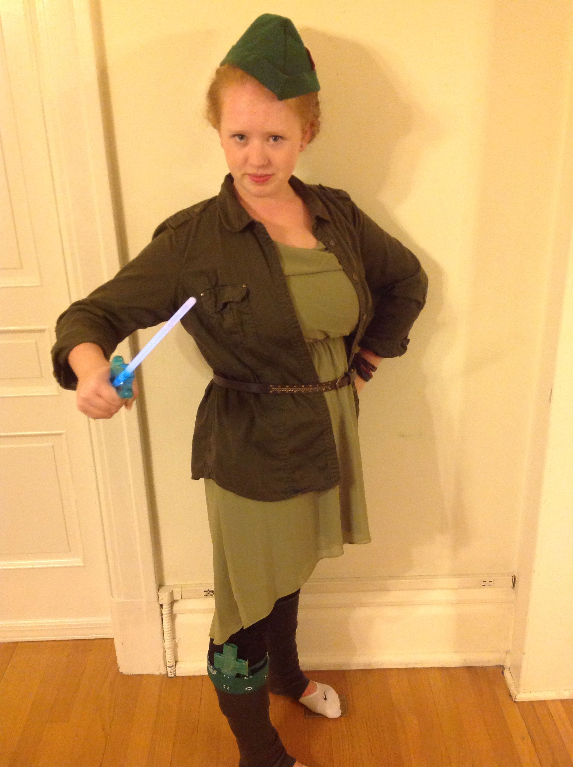 peter pan halloween costume! green dress, green jacket, belt, black