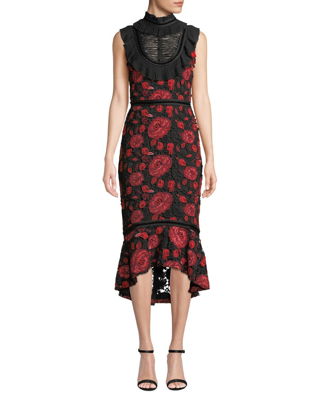 fadc0fa85cd Evelina High-Neck Sleeveless Floral-Lace Cocktail Dress w/ Ruffle Bib