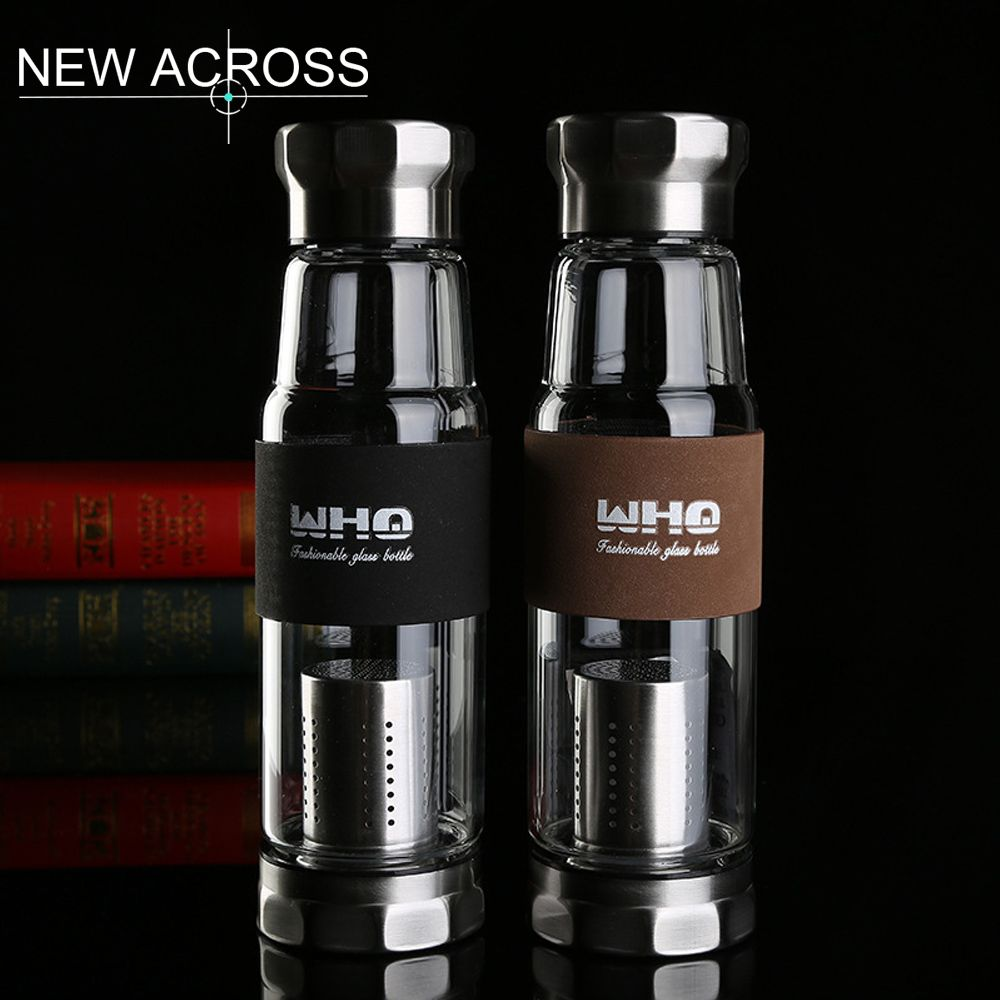 Water Bottle For Office: Gohide 1Pcs Glass Water Bottle With Isolation Tea Cup