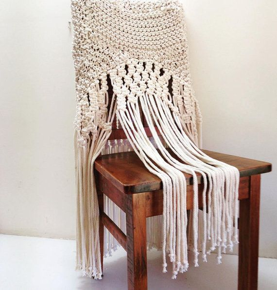 Hand Knitted Macrame Dining Room Chair Cover By LUXDELIN On Etsy