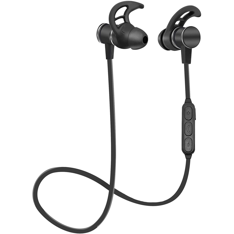 91b0eacf554 Bluetooth Headphones, SIX-QU Wireless Sport Earbuds with Mic, IPX4  Waterproof, HD