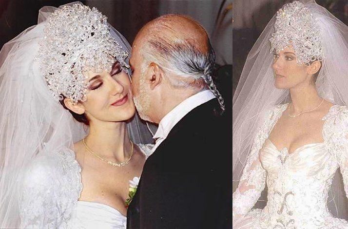 Celebrity Brides By Style Celine Dion Over The Top Bride Famous Wedding Dresses Celine Dion Celine Dion Wedding