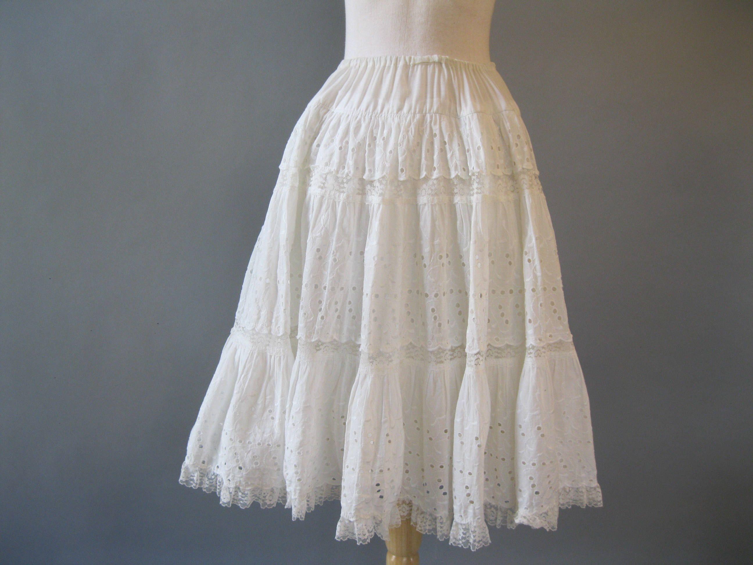 Reserve couturebunnyeyelet peasant skirt s white cotton and