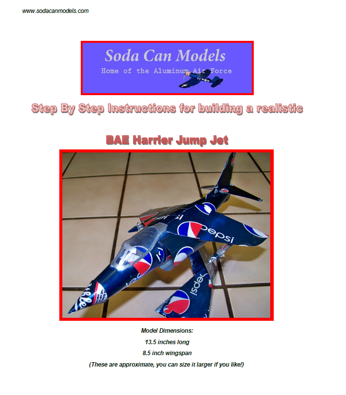Harrier soda can model plans to build yourself
