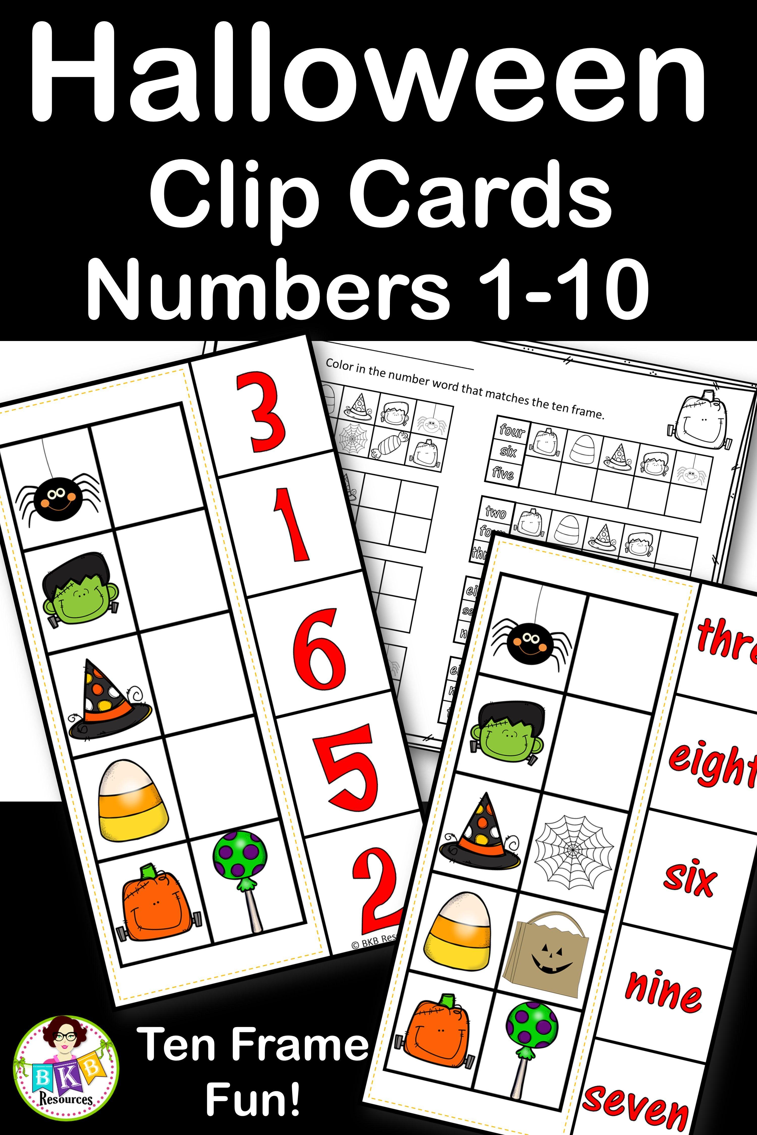 Halloween Activities Clip Cards Numbers 1 10 Number Words