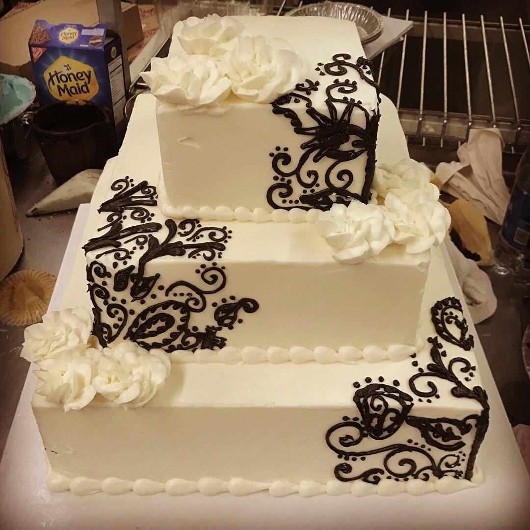 Square wedding cake, three tier, simple, elegant. Black and white ...