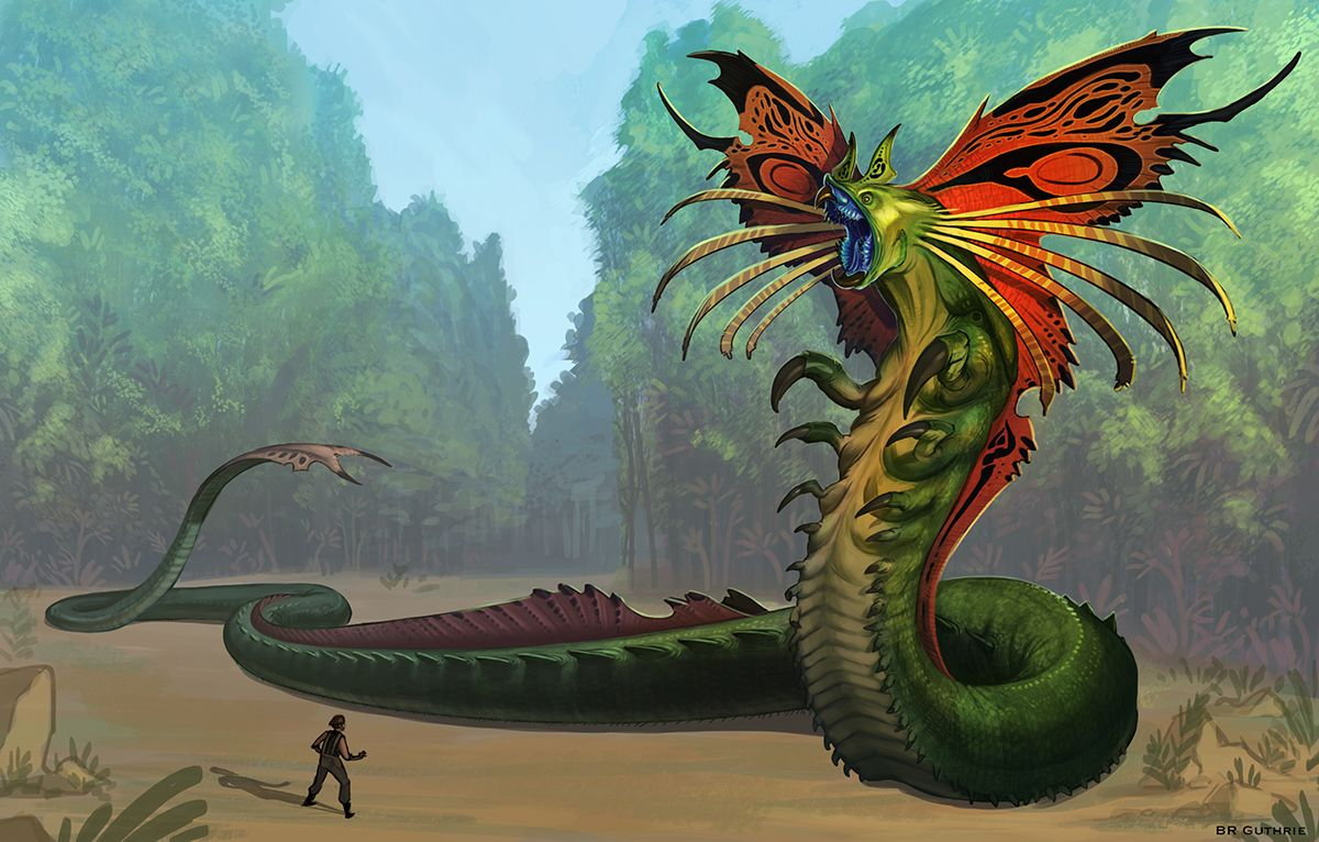 Xeno-quetzalcoatl by GuthrieArtwork.deviantart.com on @DeviantArt.  An incredible alien design.