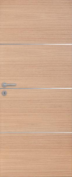 Porte intérieure contemporaine chêne 3 inserts horizontaux alu