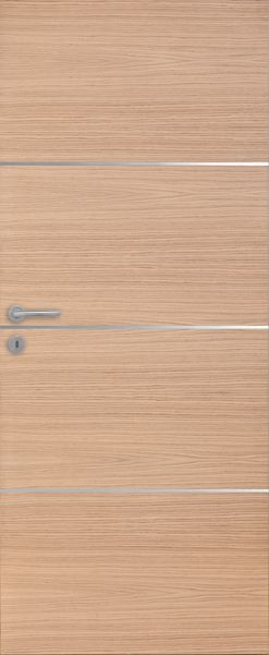 porte int rieure contemporaine ch ne 3 inserts horizontaux alu vernis naturel mat porte. Black Bedroom Furniture Sets. Home Design Ideas