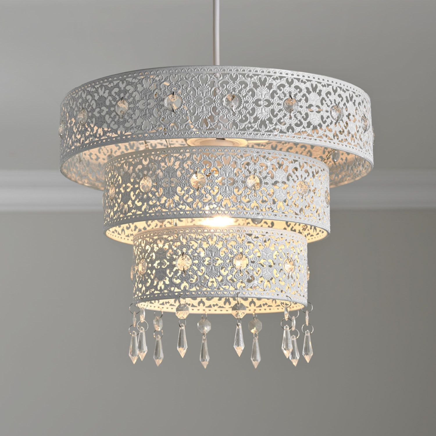 3 tier white floral cut out pendant new home pinterest ceiling 3 tier white floral cut out pendant arubaitofo Images