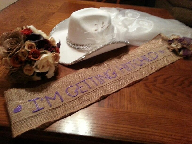 Country Bachelorette sash and cowboy hat