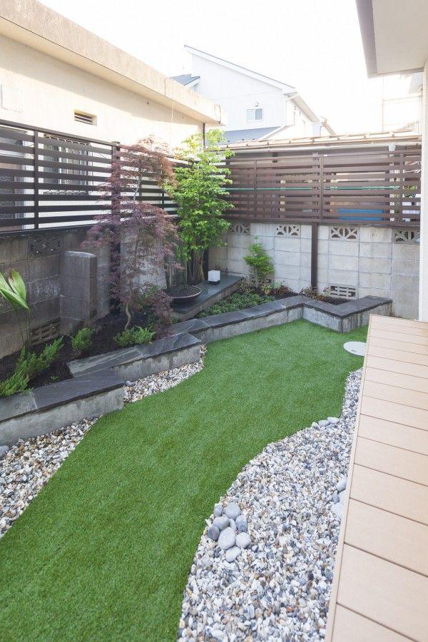 愛知県 海部郡 蟹江町 木 石 人工芝を用いた和テイストの 庭 施工例 花壇の周りは 人工芝と化粧砂利でデザイン 庭 エクステリア 庭 砂利 芝生