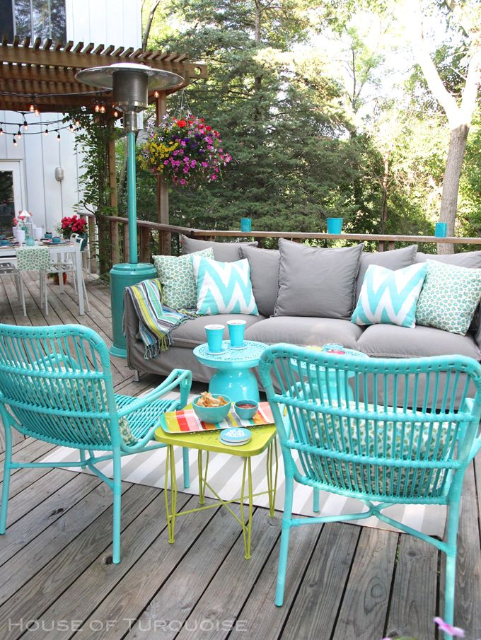 turquoise patio chairs poly banquet chair covers my deck makeover reveal house of apartment ideas love this color combination for living room couch can easily have neutral cover with painted accent pieces