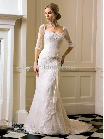 Lace sleeved Fitted Wedding Dress three quarter sleeve fishtail ...