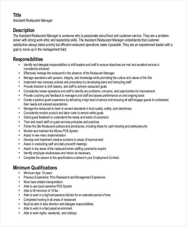 Assistant Restaurant Manager Resume , Creative Restaurant General ...