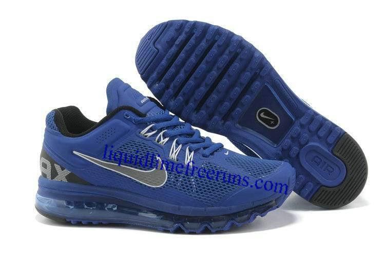 Mens Nike Air Max 2013 Royal Blue Silver Shoes