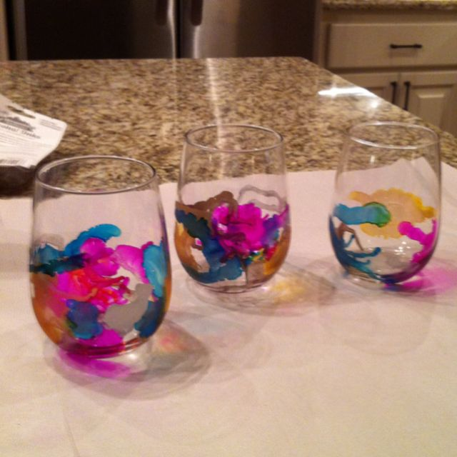 My Attempt At Alcohol Ink Painted Wine Glasses Need A